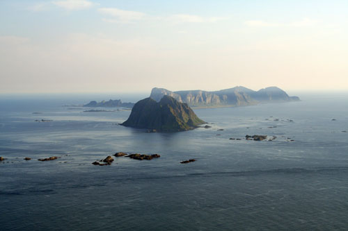 The Maelstrom on a clear day. The islands of Mosken and Værøy can be seen in the distance.
