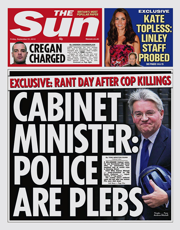 front page of The Sun - Friday 21 September 2012