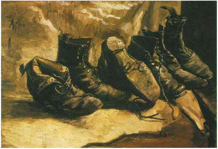 Three Pairs of Shoes (1886) by Vincent Van Gogh (1853-90)