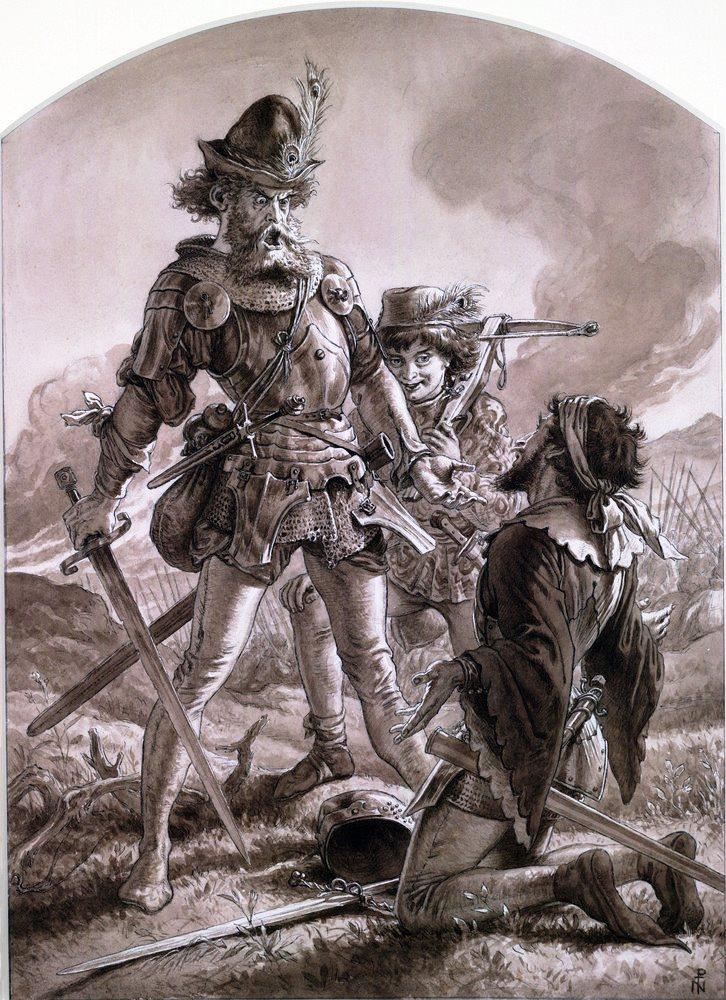 Fluellen intimidating Pistol (circa 1850), by Joseph Noel Paton (1821-1901)