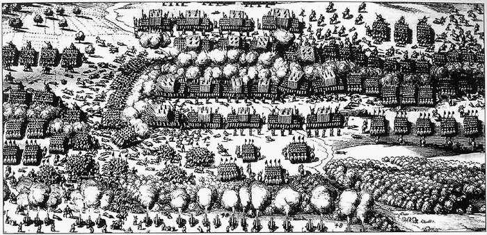 contemporary etching of troop disposition at the beginning of the Battle of Breitenfeld (1631)