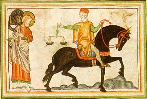 miniature from a 13th century Apocalypse manuscript - The 3rd seal, the black horse