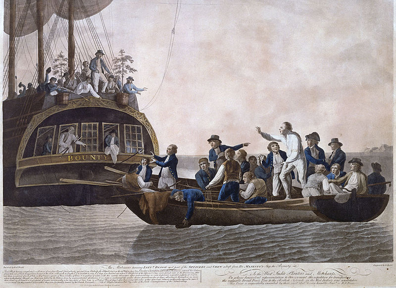 The Mutineers turning LIEUᵀ BLIGH and part of the OFFICERS and CREW adrift from His MAJESTY's Ship the Bounty, by Robert Dodd (1748-1815)