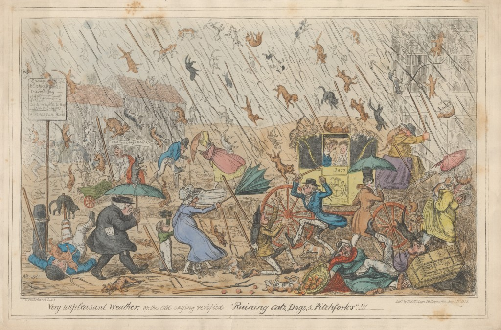 "Very unpleasant Weather, or the Old saying verified ""Raining Cats, Dogs, & Pitchforks.""!!! (1835), by George Cruikshank (1792-1878)"