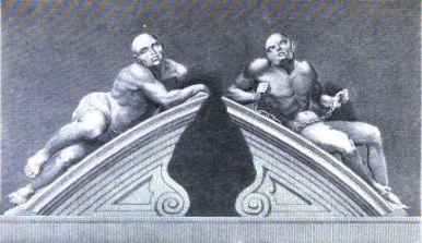 Engraving of the two figures (mentioned by César-François de Saussure) adorning the entrance portal to Bedlam in Moorfields