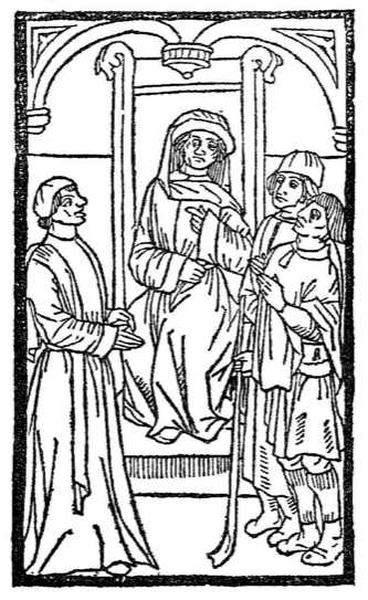 The trial scene - woodcut from the edition of La Farce de Maistre Pathelin by Pierre Levet, circa 1489