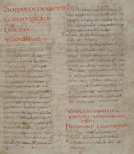 manuscript page from Isidorus Hispalensis Etymologiae (Codex Karolinus) - Herzog August Bibliothek Wolfenbüttel