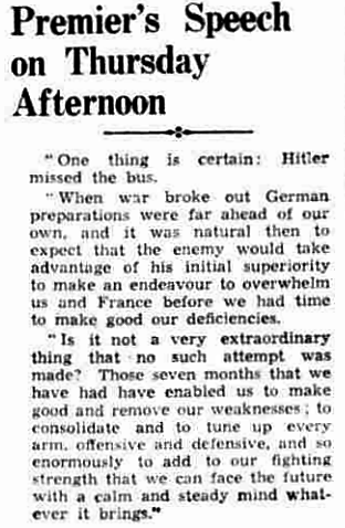 Premier's Speech on Thursday Afternoon - Western Mail and South Wales News, Friday 5th April 1940