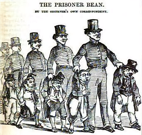 The Prisoner Bean – Punch, or The London Charivari (1842)