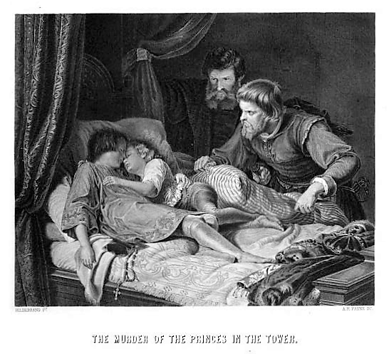 The Murder of the Princes in the Tower – illustration from The National and Domestic History of England (date unknown), by William Hickman Smith Aubrey (1848-1916)
